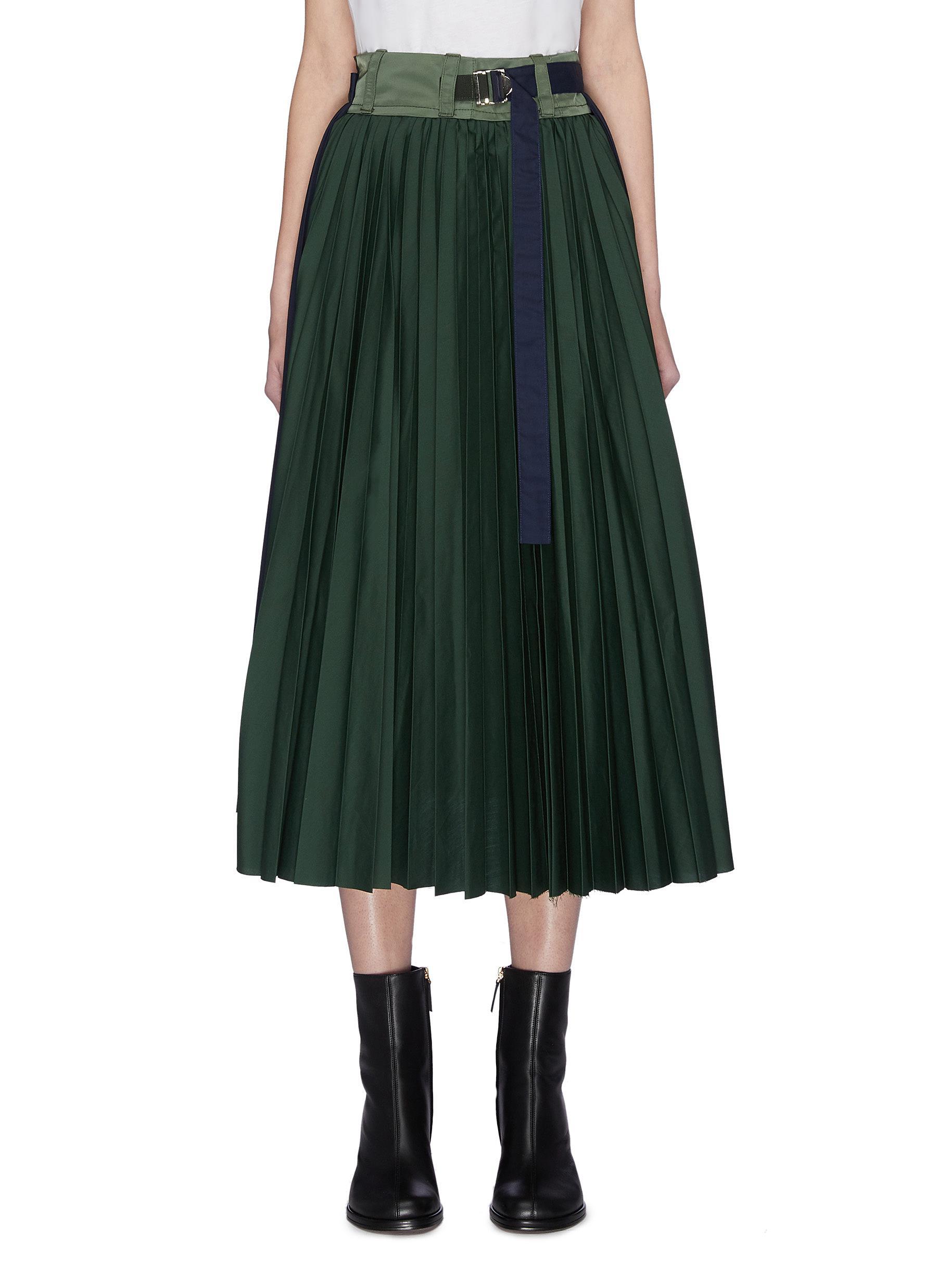 shop Sacai Paneled pleated wrap around skirt online