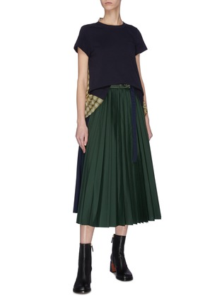 Figure View - Click To Enlarge - SACAI - Paneled pleated wrap around skirt