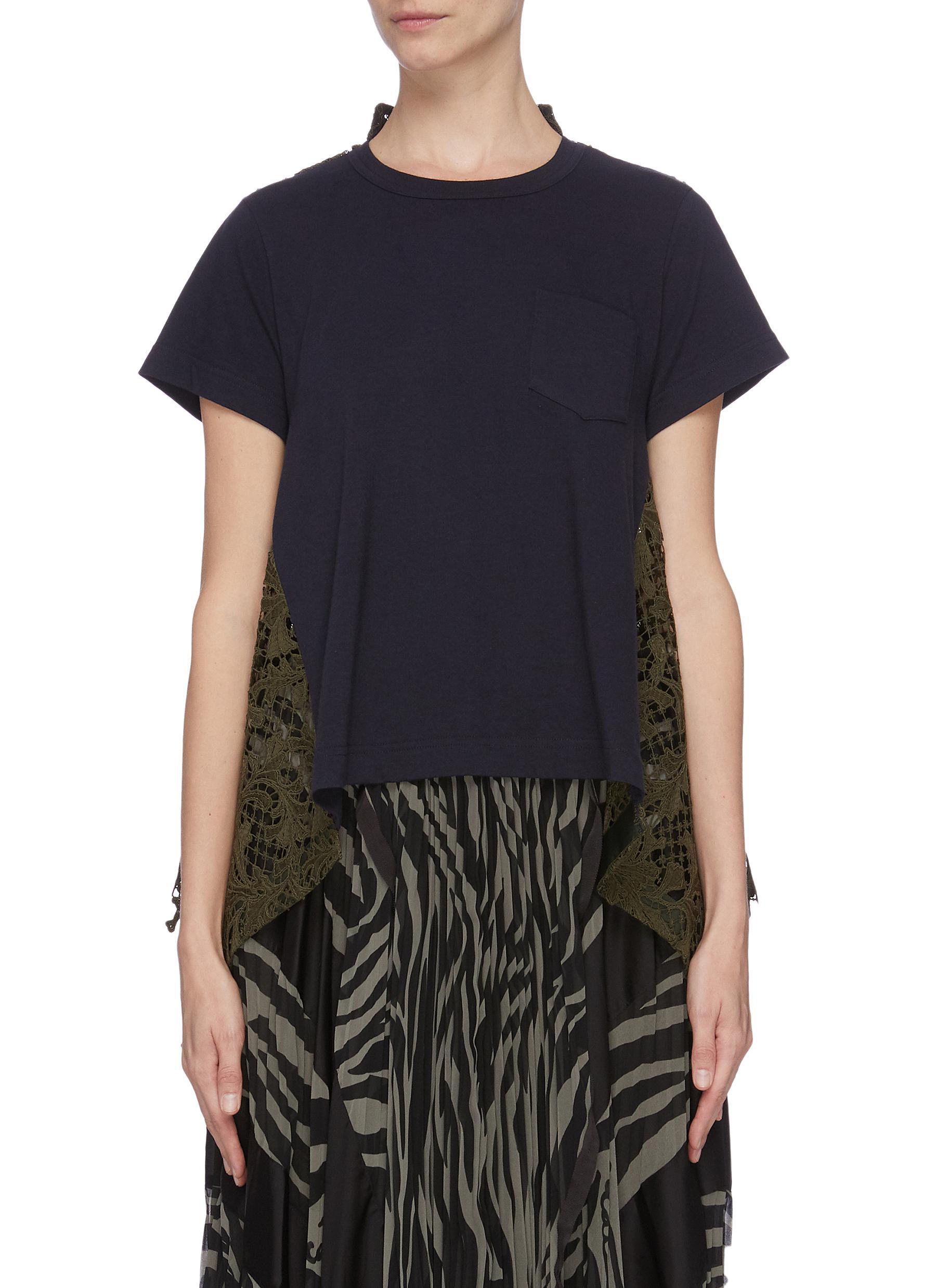 shop Sacai Lace back panel T-shirt online