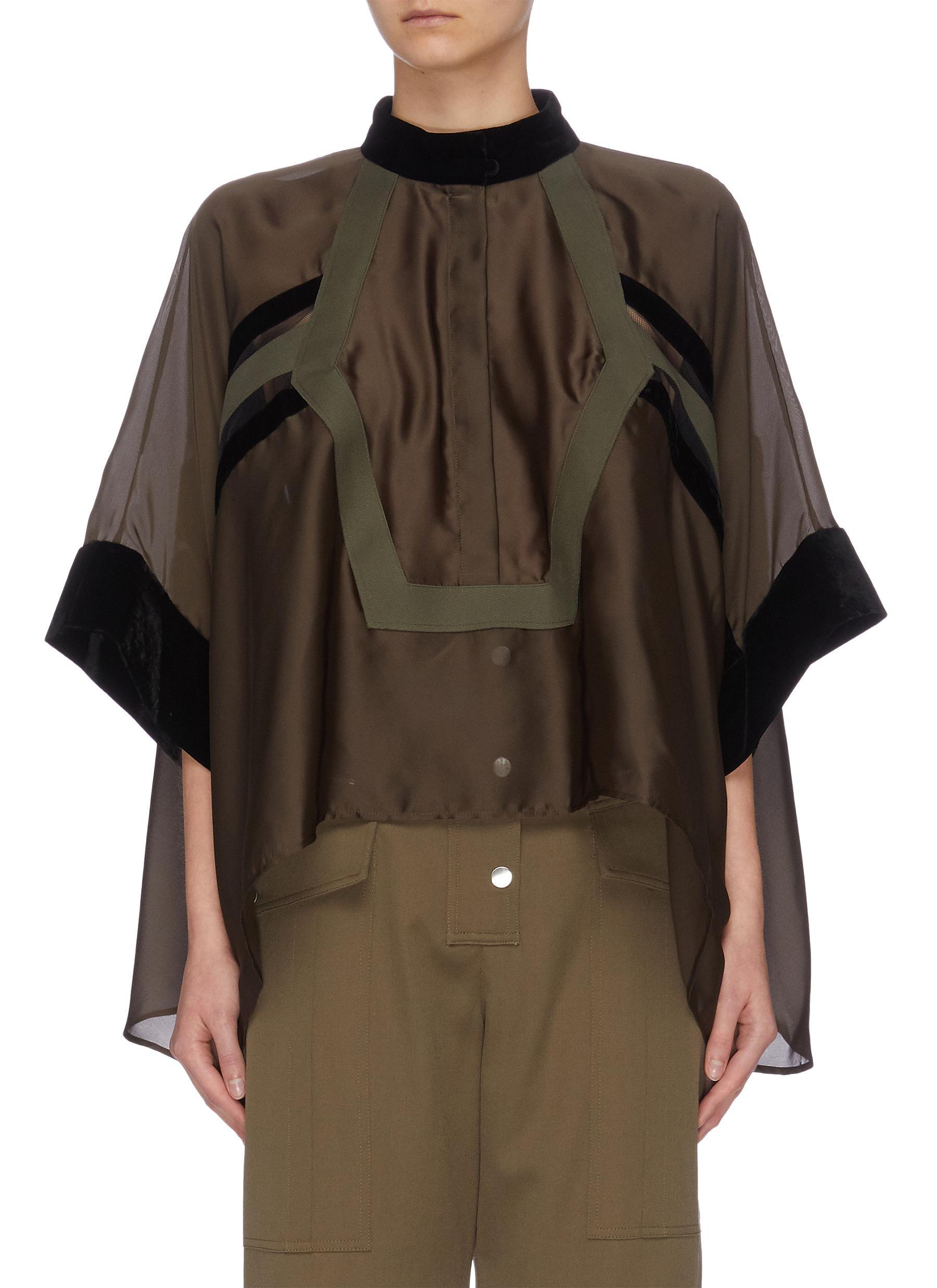 shop Sacai Velvet panel cape sleeve top online