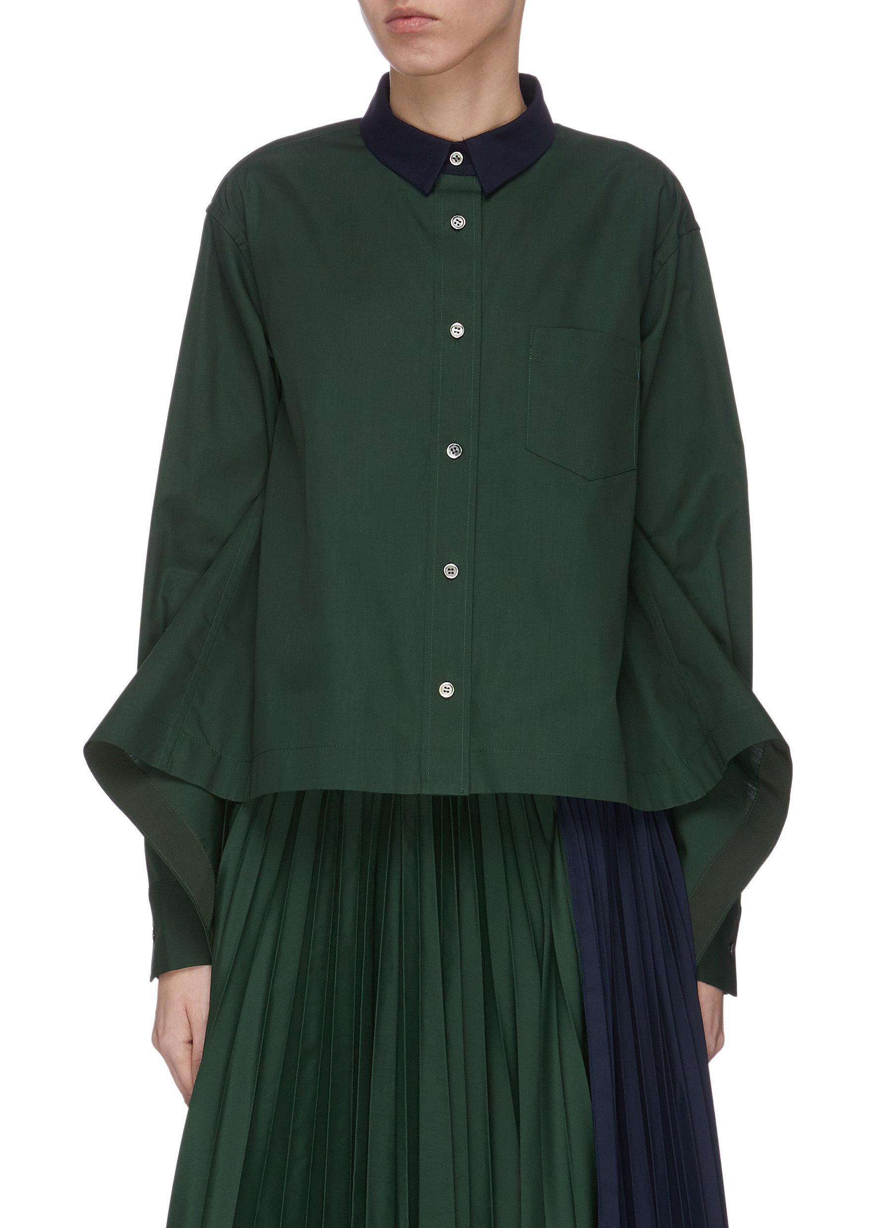 shop Sacai Colourblock panelled flared shirt online