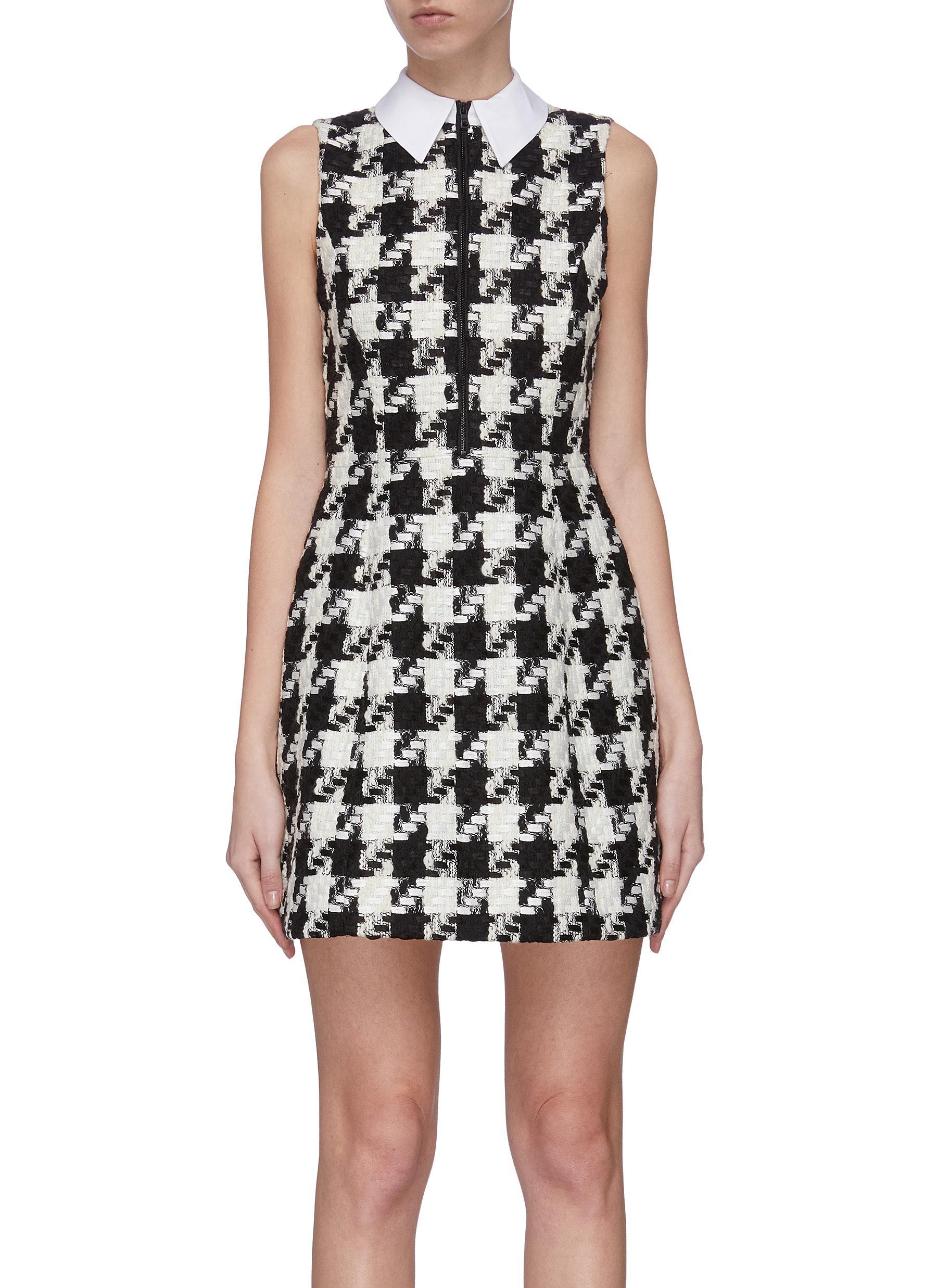 shop Alice + Olivia 'Ellis' houndstooth collar zip front dress online