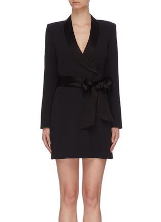 Main View - Click To Enlarge - ALICE + OLIVIA - 'Mona' V neck sash tie dress