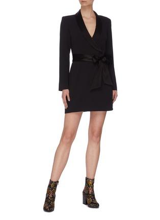 Figure View - Click To Enlarge - ALICE + OLIVIA - 'Mona' V neck sash tie dress