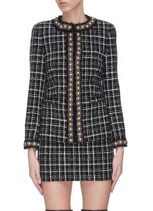 Main View - Click To Enlarge - ALICE + OLIVIA - 'Carmen' pearl embellished check plaid blazer
