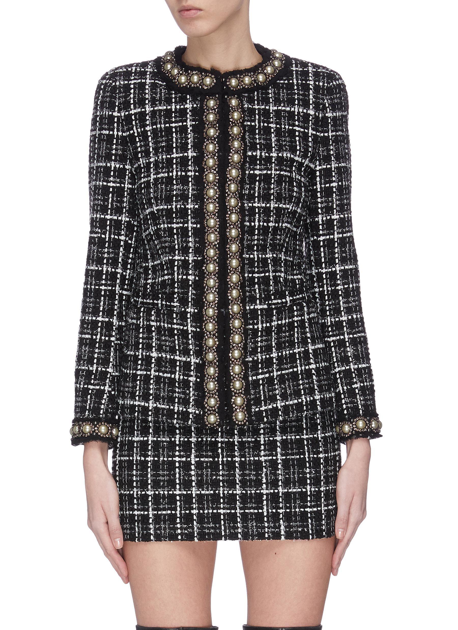 Buy Alice + Olivia Jackets 'Carmen' pearl embellished check plaid blazer