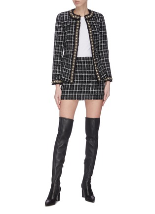 Figure View - Click To Enlarge - ALICE + OLIVIA - 'Carmen' pearl embellished check plaid blazer