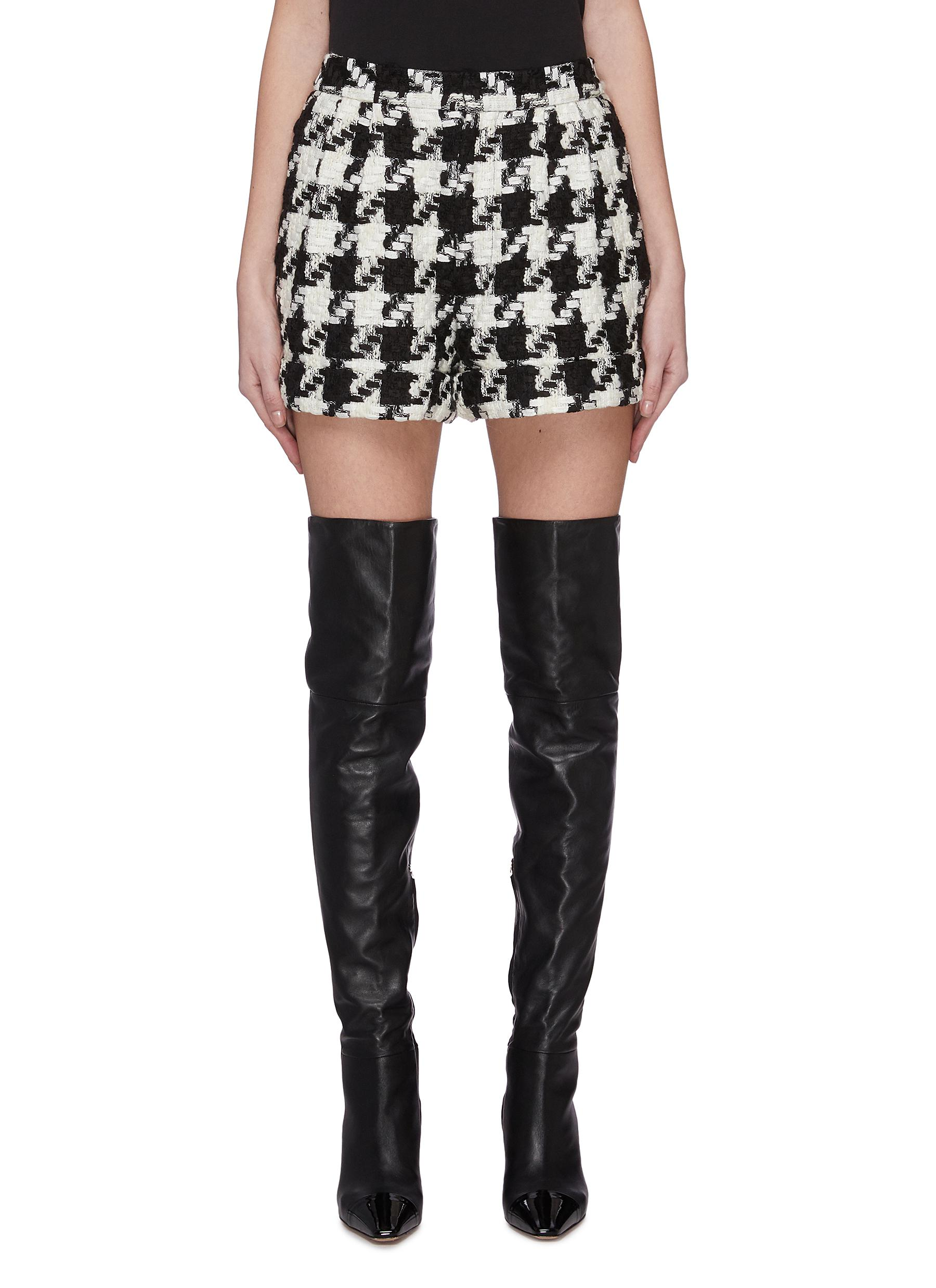 Buy Alice + Olivia Pants & Shorts 'Conry' houndstooth tweed shorts