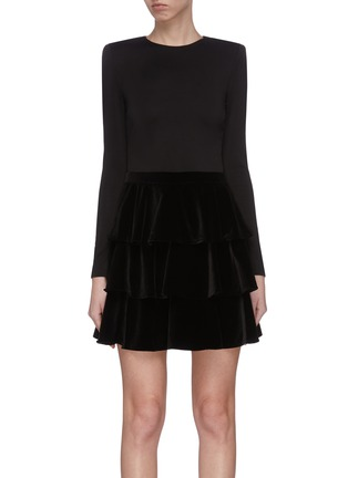 Main View - Click To Enlarge - ALICE + OLIVIA - 'Jalen' tiered mini dress