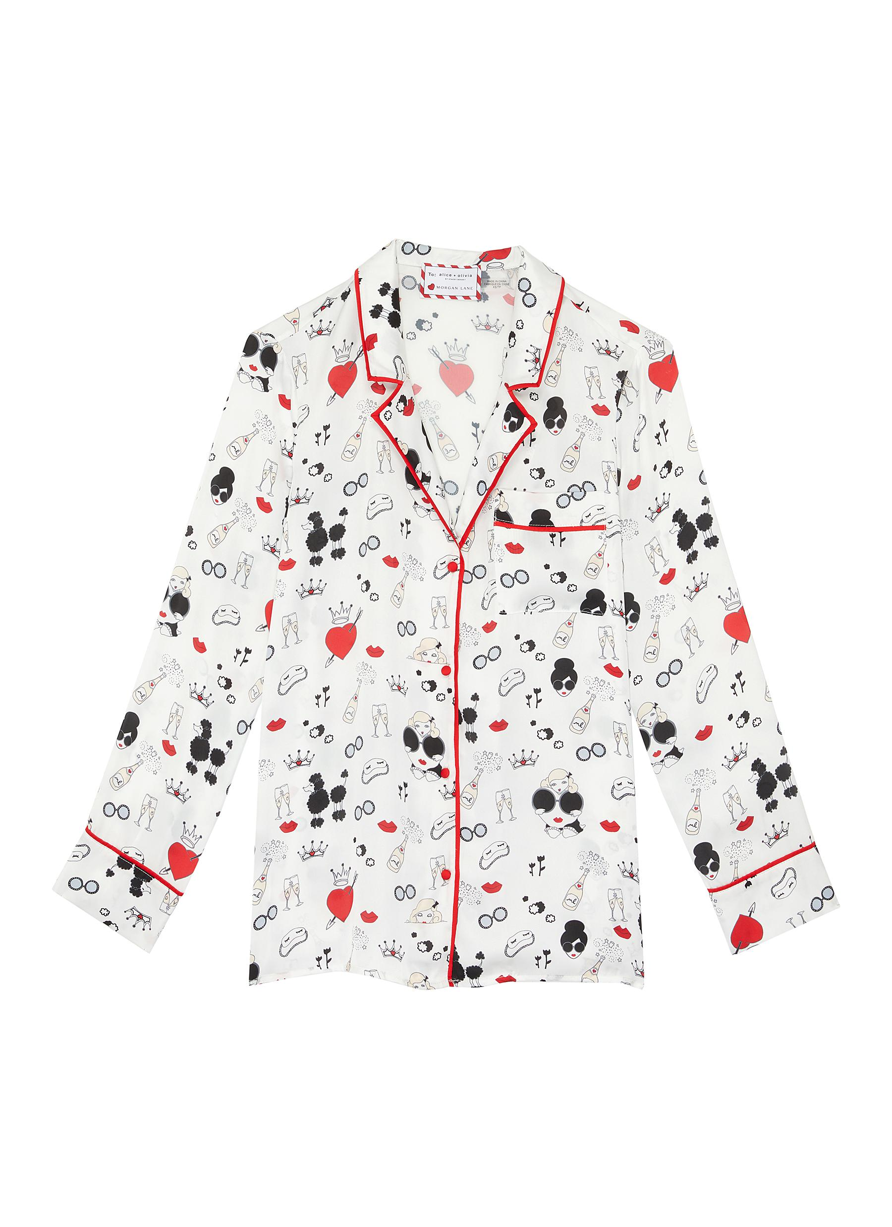 Buy Alice + Olivia Tops 'Kier' Stace Face print contrast piping pajama top