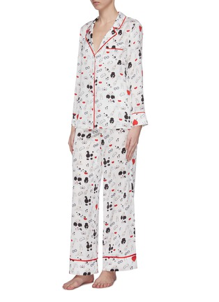 Figure View - Click To Enlarge - ALICE + OLIVIA - 'Kier' Stace Face print contrast piping pajama top