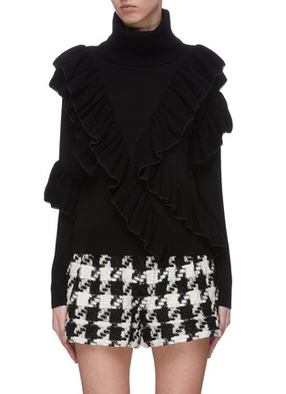 Main View - Click To Enlarge - ALICE + OLIVIA - 'Libbie' turtleneck asymmetric ruffle pullover