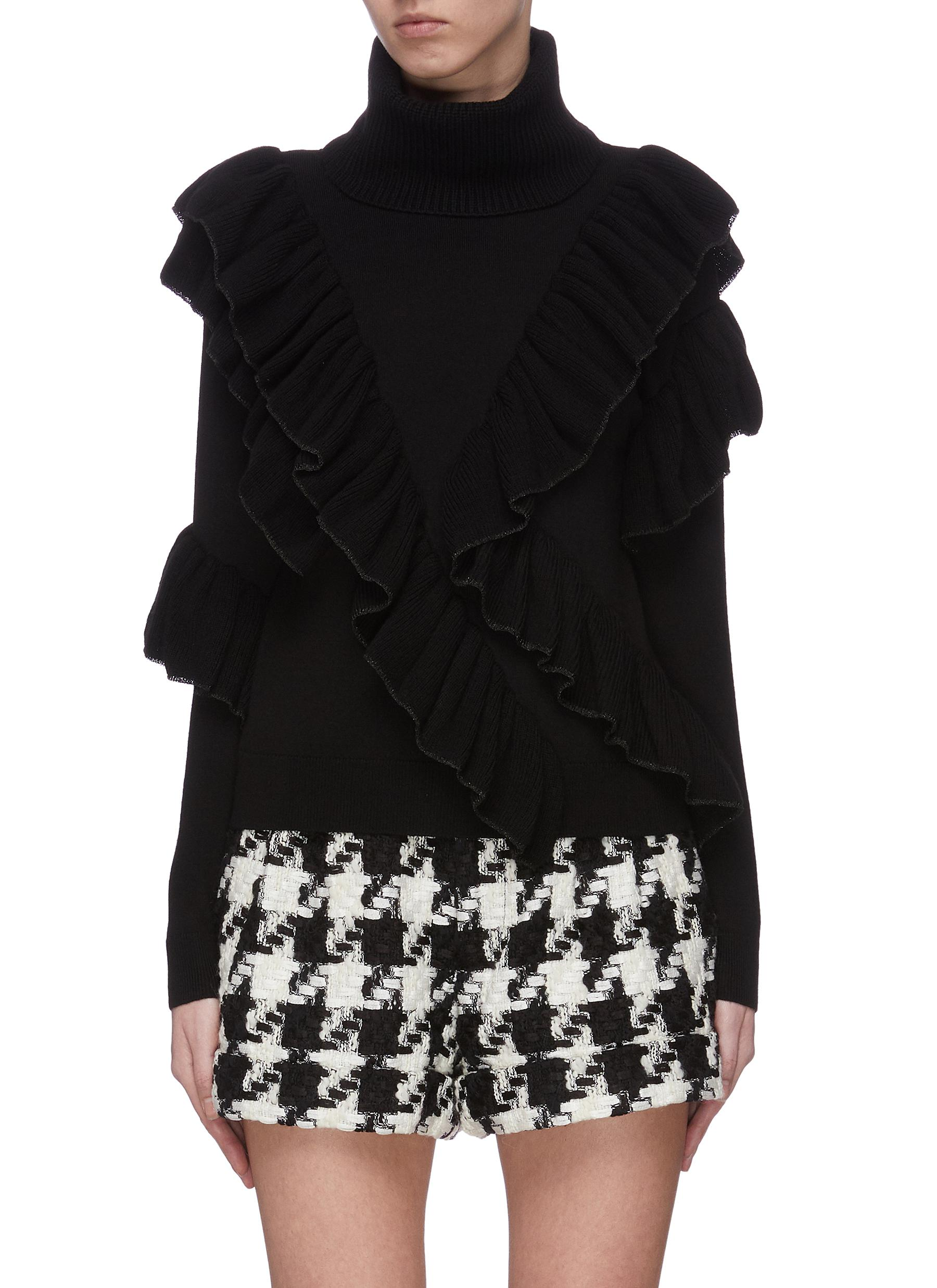 Buy Alice + Olivia Knitwear 'Libbie' turtleneck asymmetric ruffle pullover