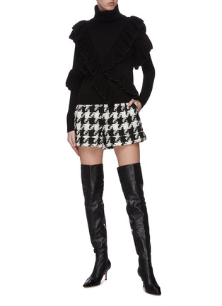 Figure View - Click To Enlarge - ALICE + OLIVIA - 'Libbie' turtleneck asymmetric ruffle pullover