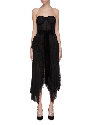 Main View - Click To Enlarge - ALICE + OLIVIA - 'Bree' belted asymmetric ruffle dress