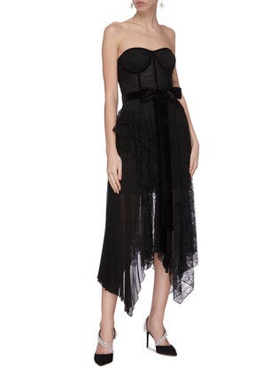 Figure View - Click To Enlarge - ALICE + OLIVIA - 'Bree' belted asymmetric ruffle dress