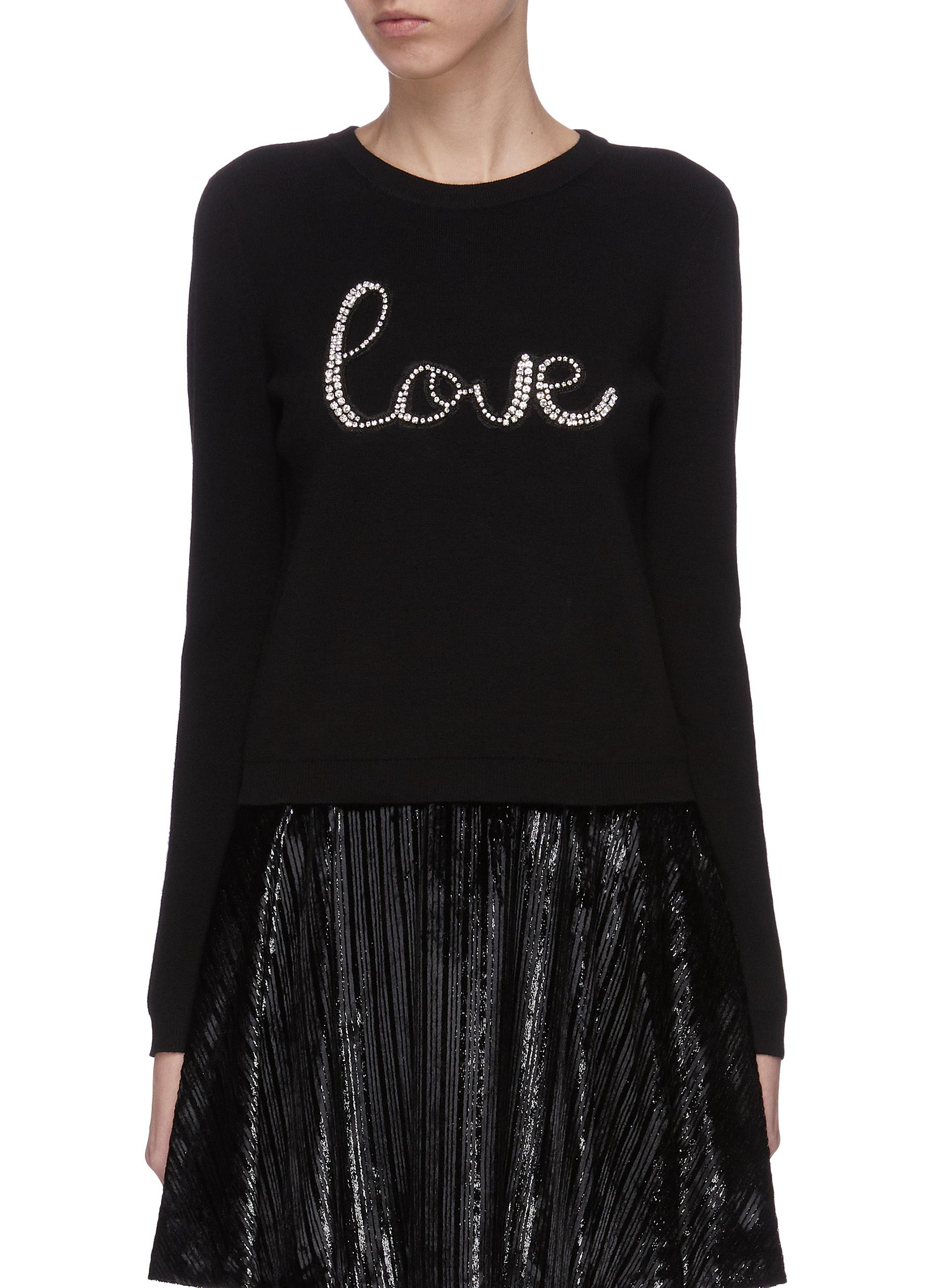 Buy Alice + Olivia Knitwear 'Connie' slogan print sweatshirt