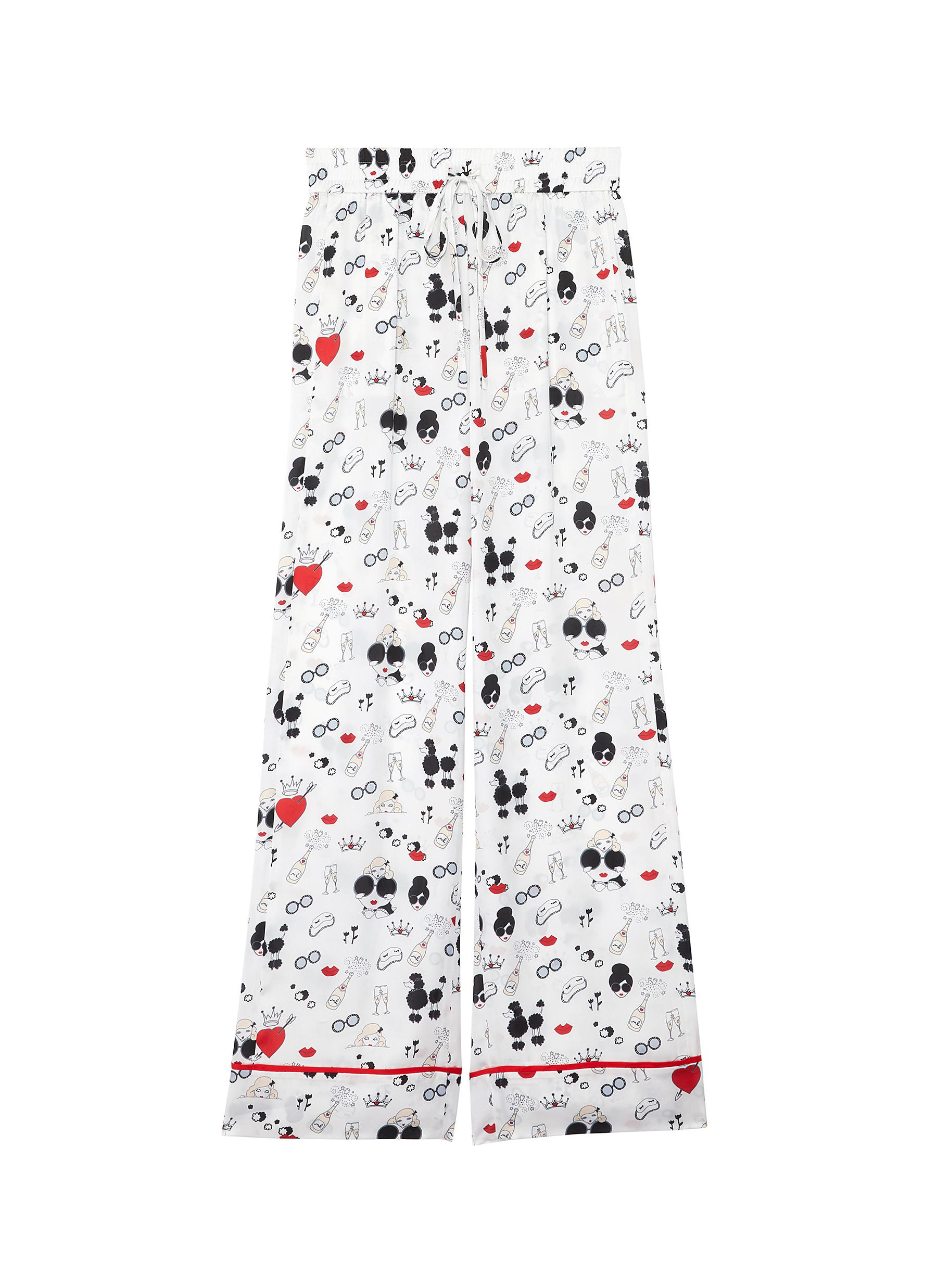 shop Alice + Olivia 'Meera' Stace Face print contrast piping pajama pants online