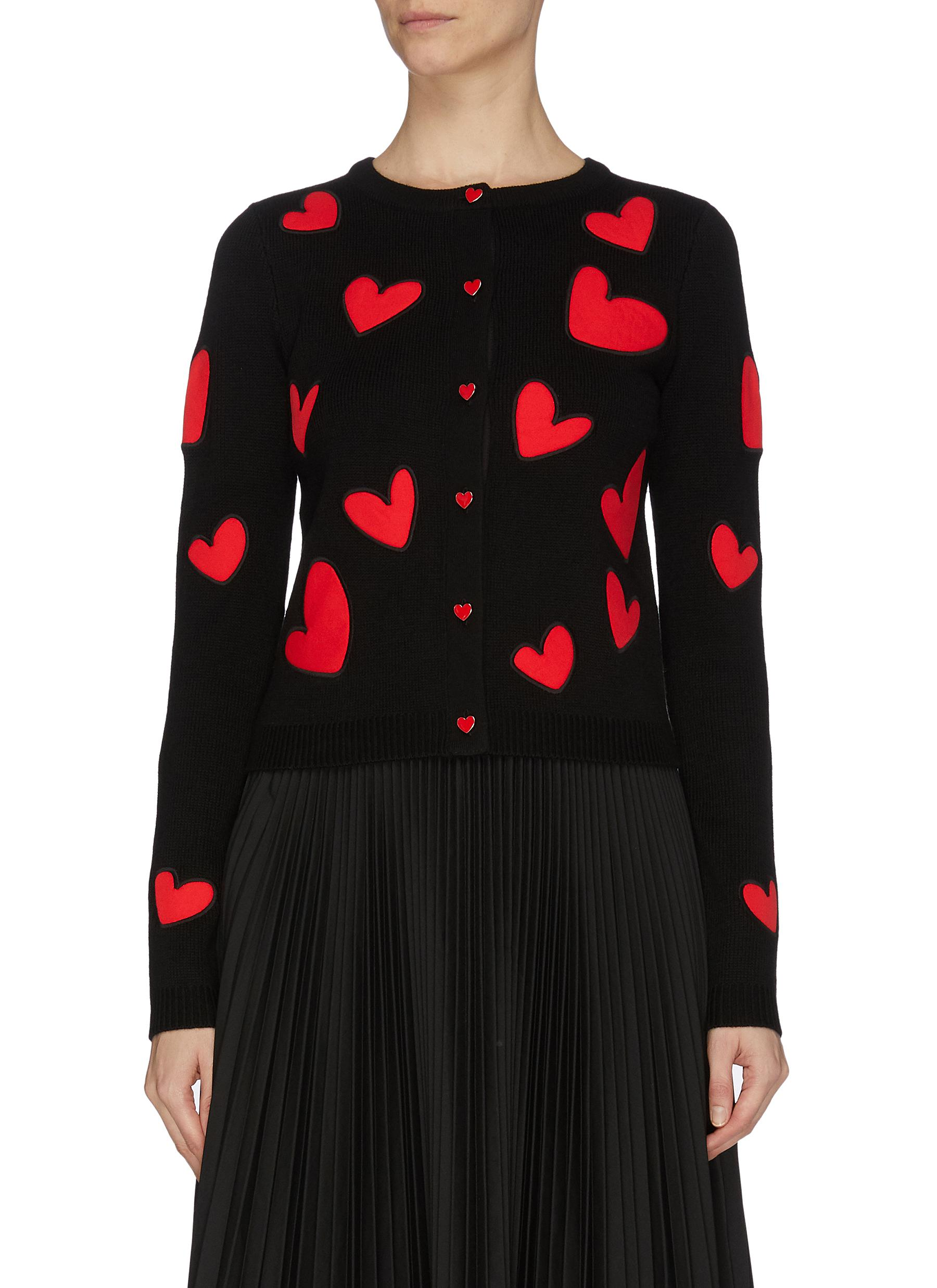 shop Alice + Olivia 'Ruthy' heart patch cardigan online
