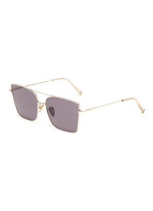 Main View - Click To Enlarge - SUPER - Metal frame brow bar square sunglasses