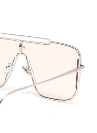 Detail View - Click To Enlarge - SUPER - Metal frame brow bar cutout oversized square sunglasses