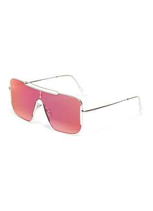 Main View - Click To Enlarge - SUPER - Metal frame brow bar cutout oversized square sunglasses