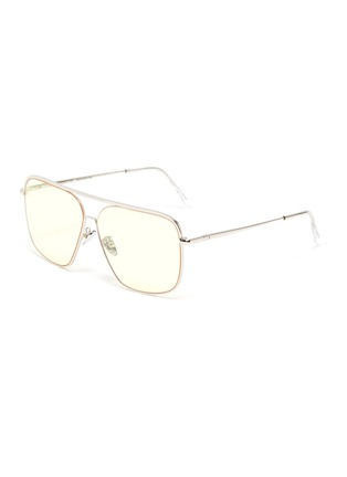Main View - Click To Enlarge - SUPER - Metal frame brow bar squared sunglasses