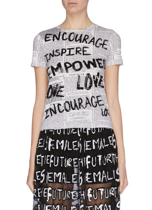 Main View - Click To Enlarge - ALICE + OLIVIA - 'Rylyn' slogan print sequin embellished T-shirt