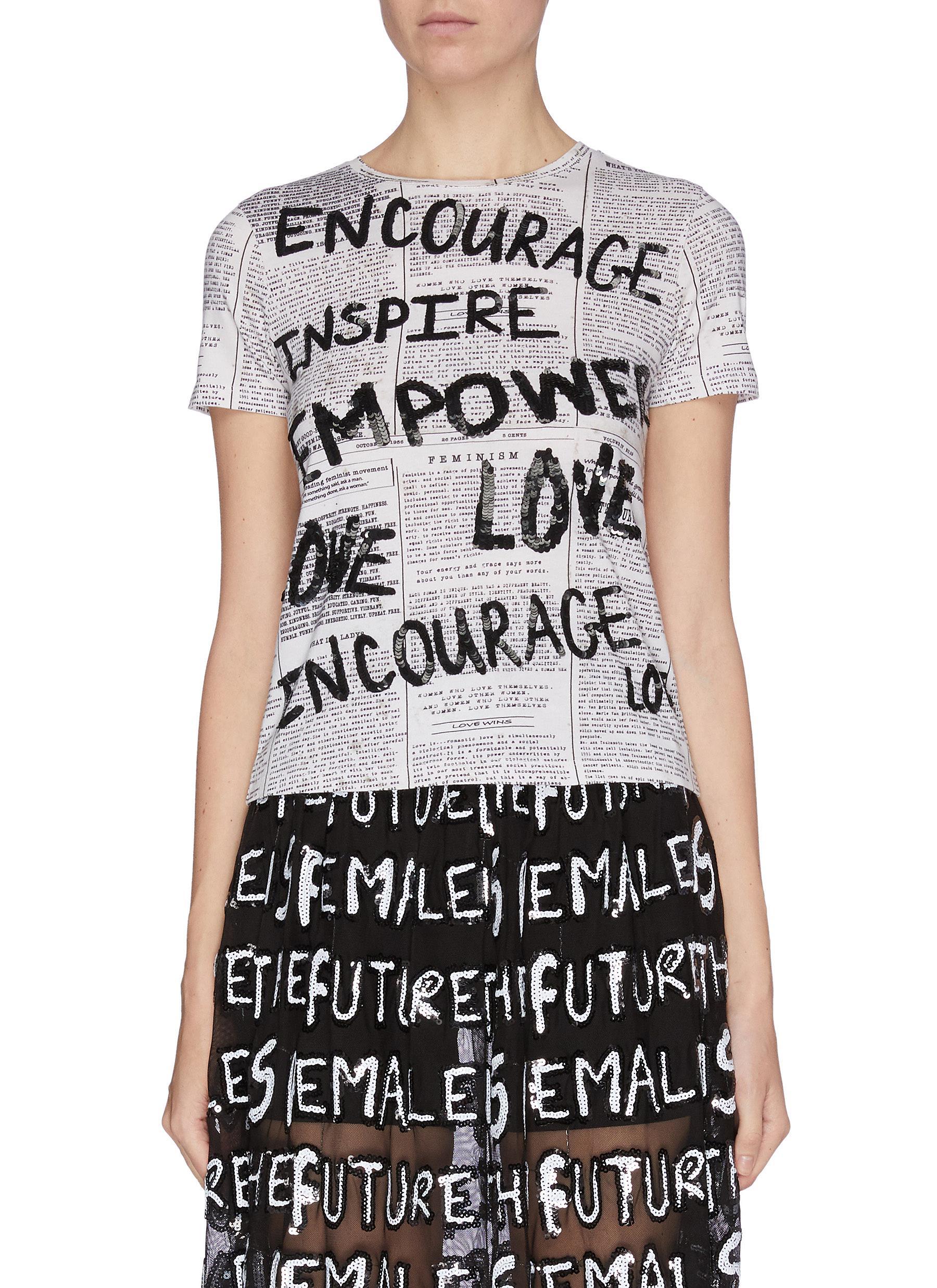 shop Alice + Olivia 'Rylyn' slogan print sequin embellished T-shirt online