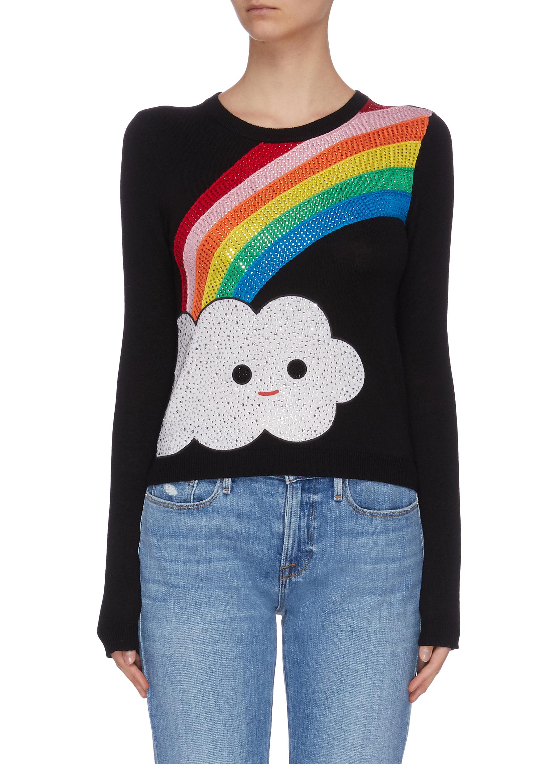 shop Alice + Olivia x FriendsWithYou 'Connie' rainbow embellished sweater online