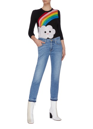 Figure View - Click To Enlarge - ALICE + OLIVIA - x FriendsWithYou 'Connie' rainbow embellished sweater