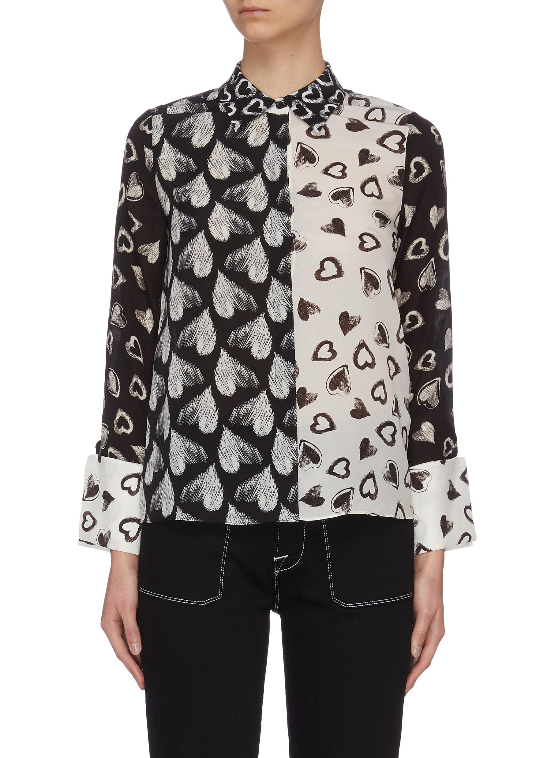 shop Alice + Olivia x FriendsWithYou 'Willa' heart print contrast panel shirt online