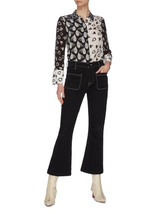 Figure View - Click To Enlarge - ALICE + OLIVIA - x FriendsWithYou 'Willa' heart print contrast panel shirt