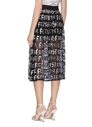 Back View - Click To Enlarge - ALICE + OLIVIA - 'Levon' sequin slogan sheer midi skirt