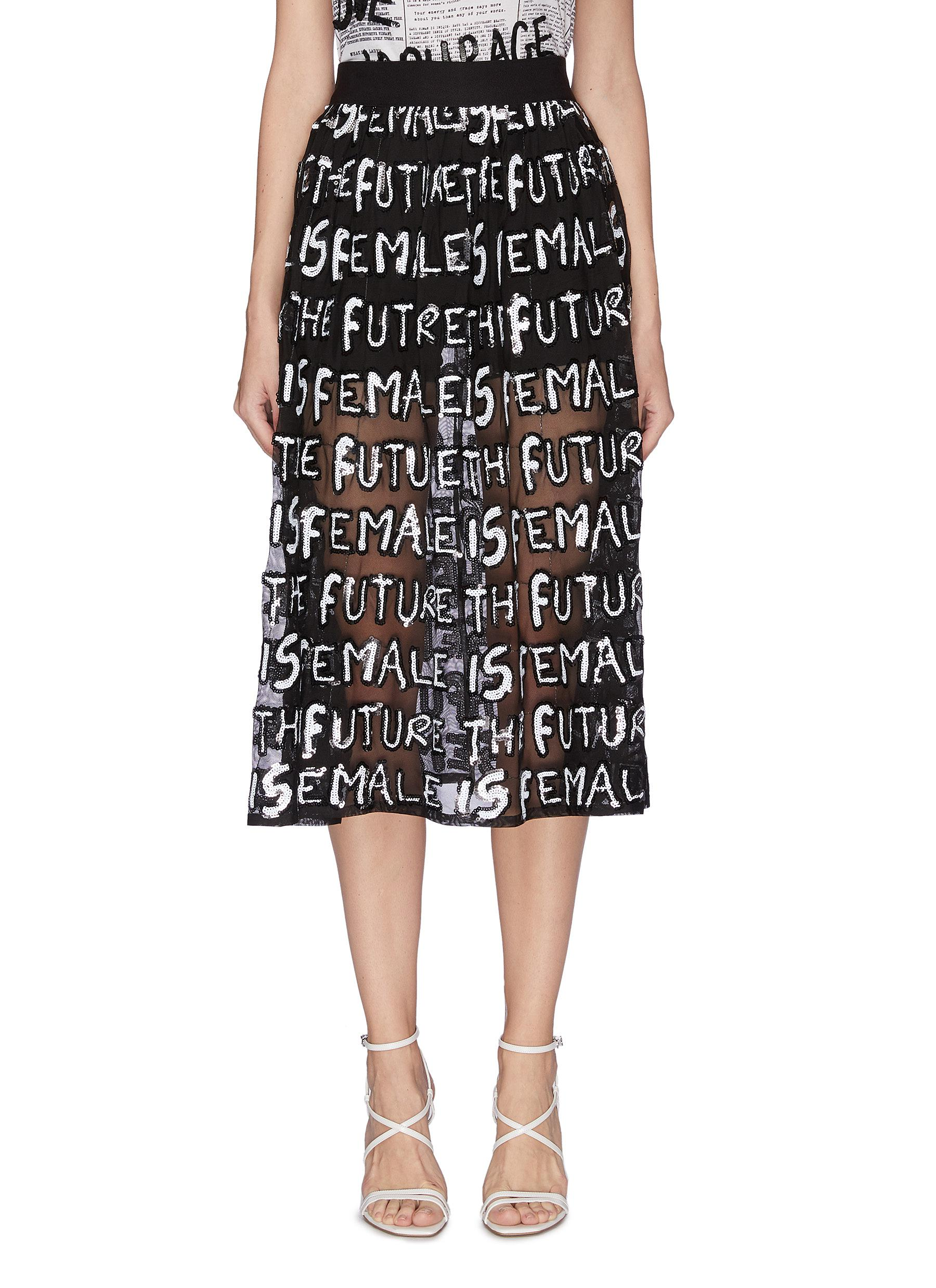 shop Alice + Olivia 'Levon' sequin slogan sheer midi skirt online