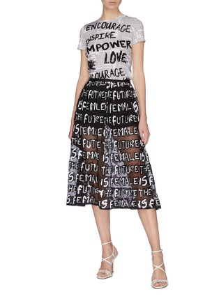 Figure View - Click To Enlarge - ALICE + OLIVIA - 'Levon' sequin slogan sheer midi skirt