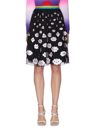 Main View - Click To Enlarge - ALICE + OLIVIA - 'Catrina' rainbow waistband cloud embroidered skirt
