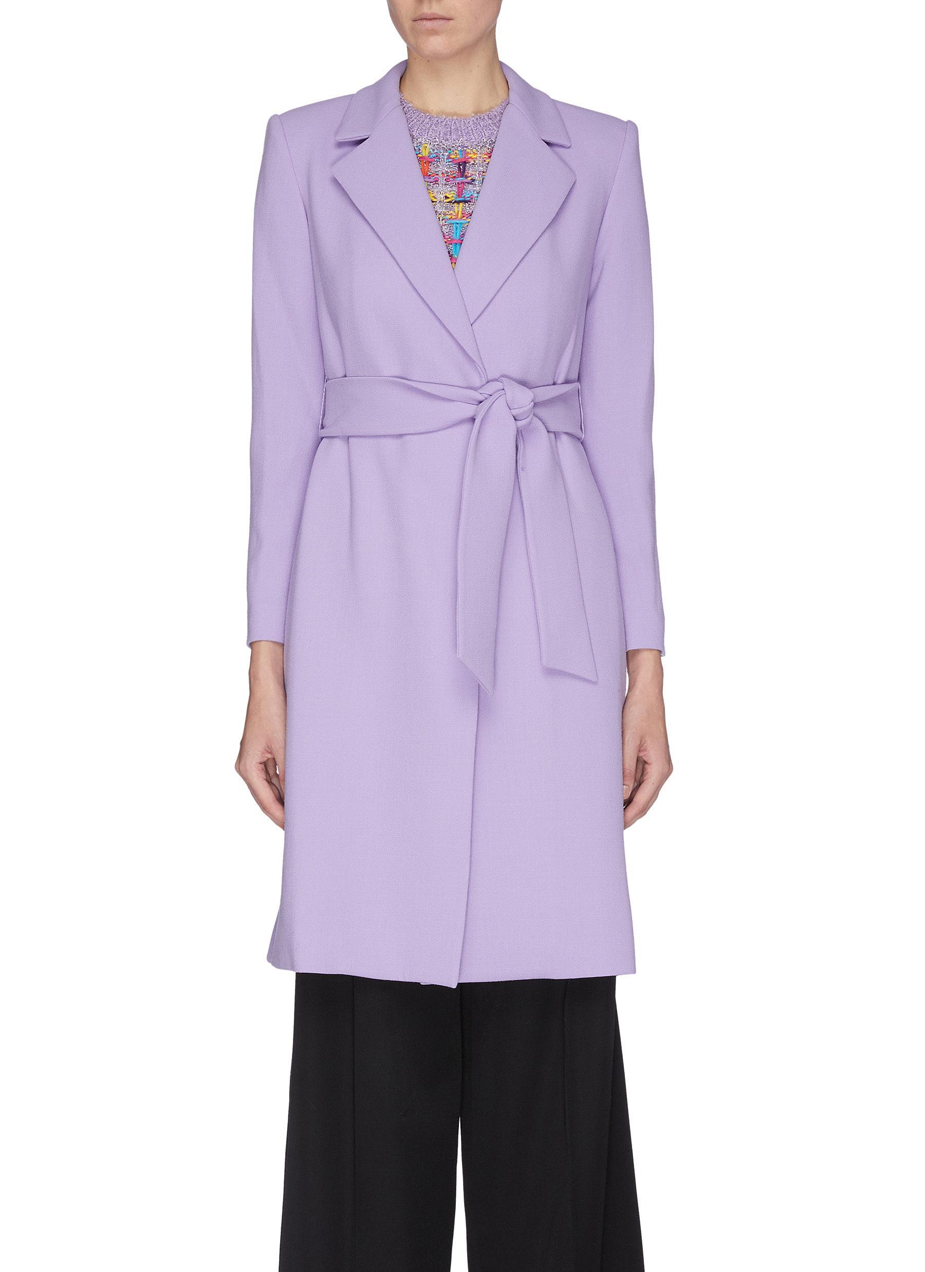 shop Alice + Olivia 'Irwin' notch lapel belted long coat online