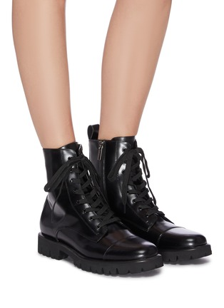 Figure View - Click To Enlarge - PEDDER RED - 'Kace' leather combat boots