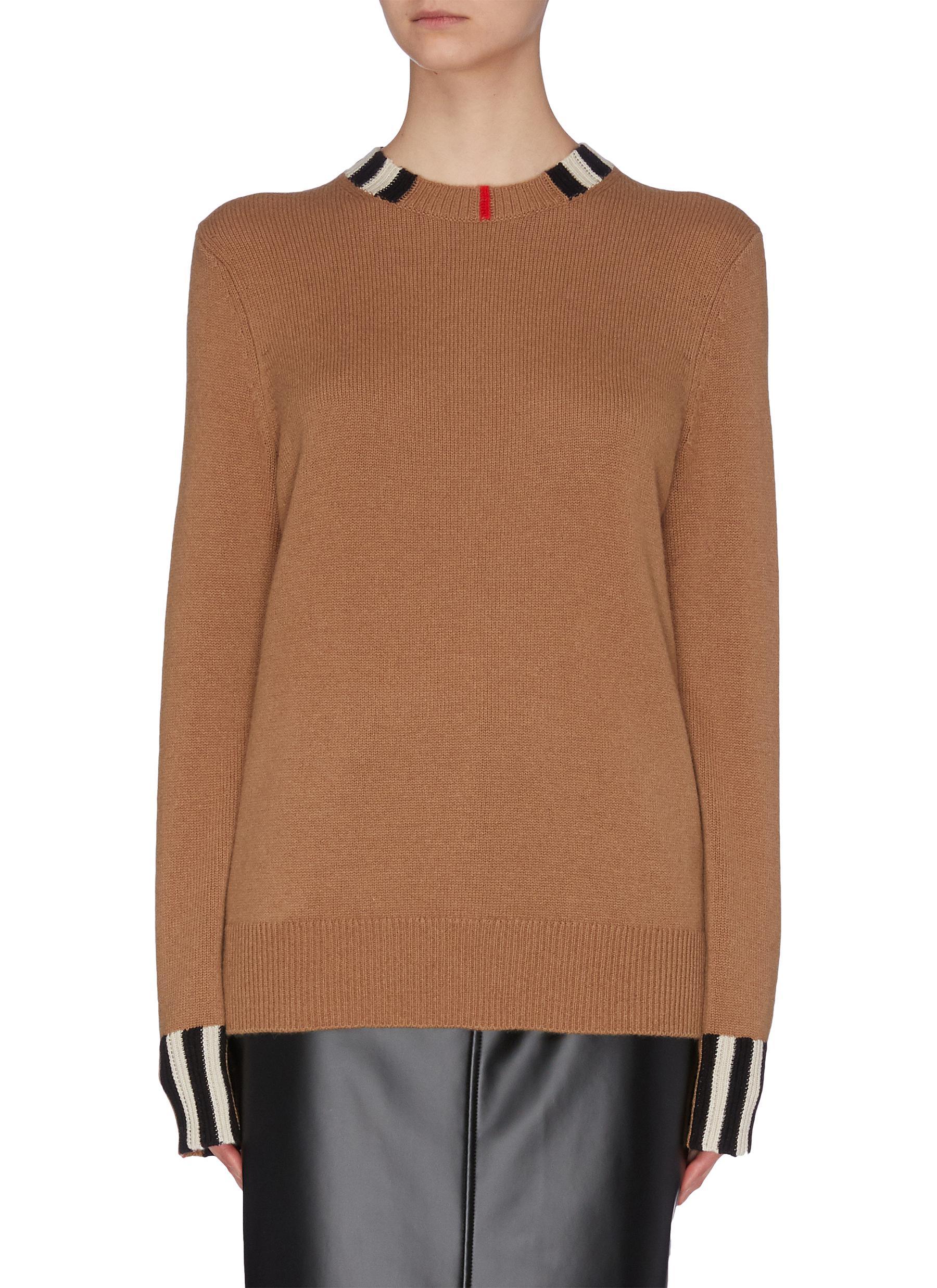 shop Burberry Stripe detail cashmere sweater online