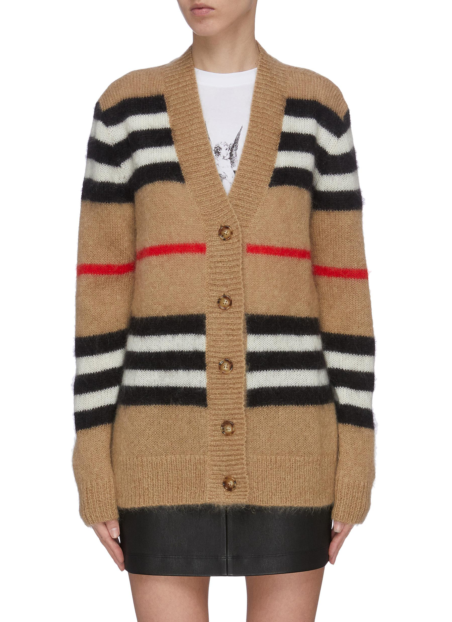 Buy Burberry Knitwear 'Archive' stripe knit cardian