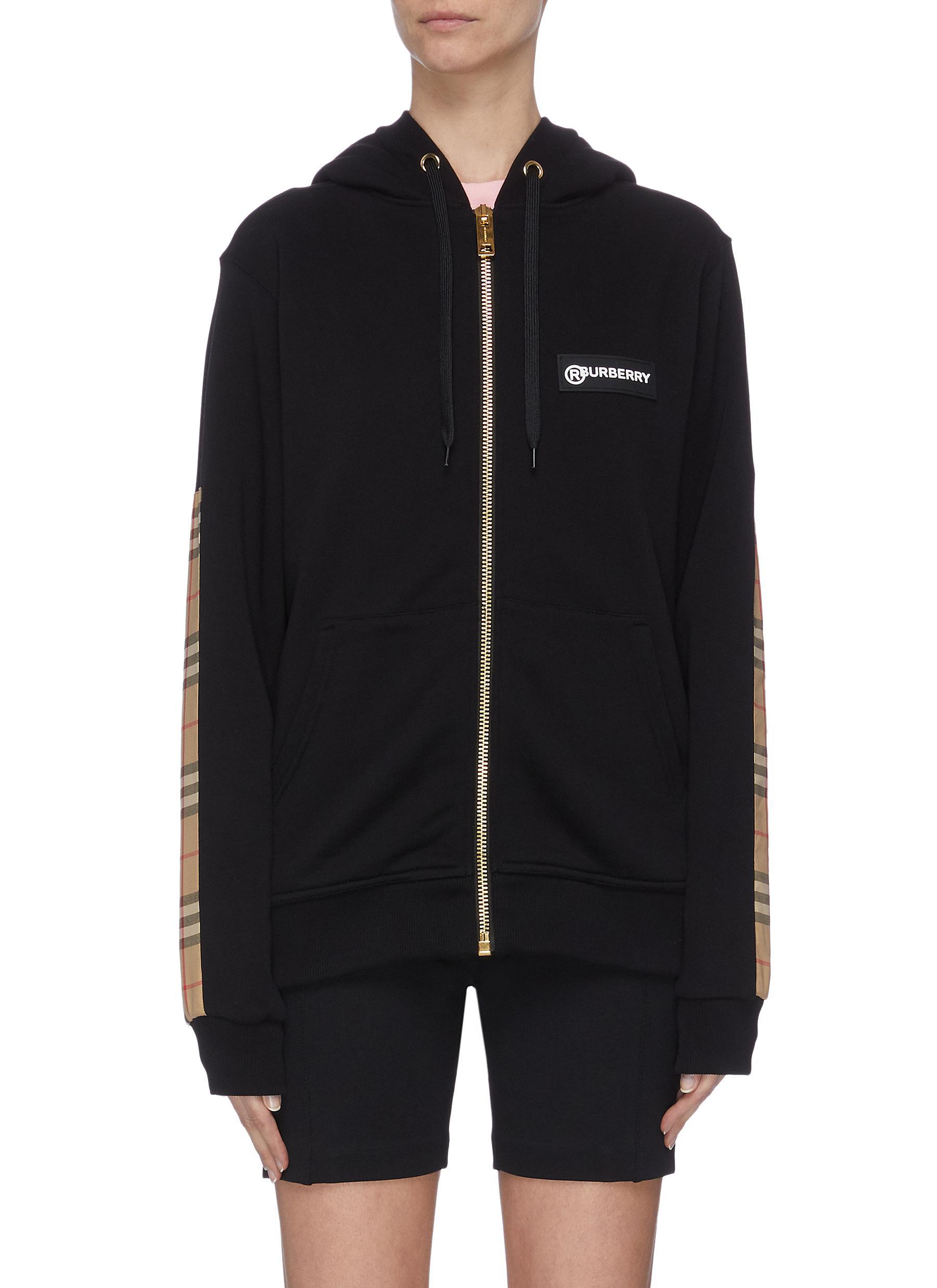 shop Burberry Check panel zip-up hoodie online