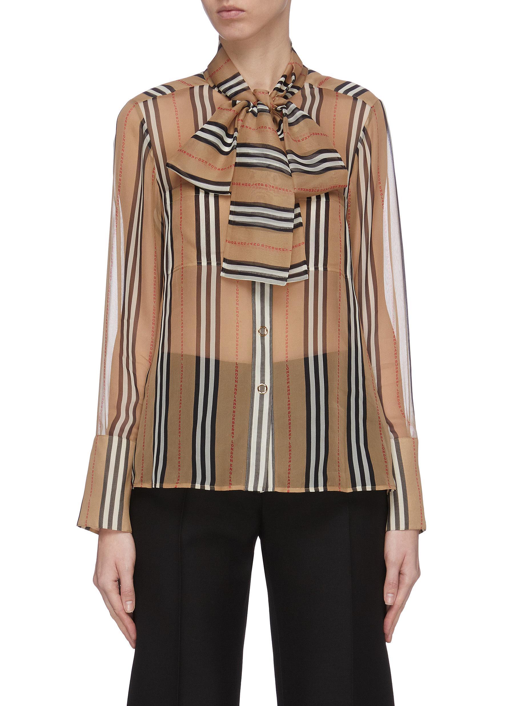 Buy Burberry Tops Sheer archive stripe neck tie silk blouse