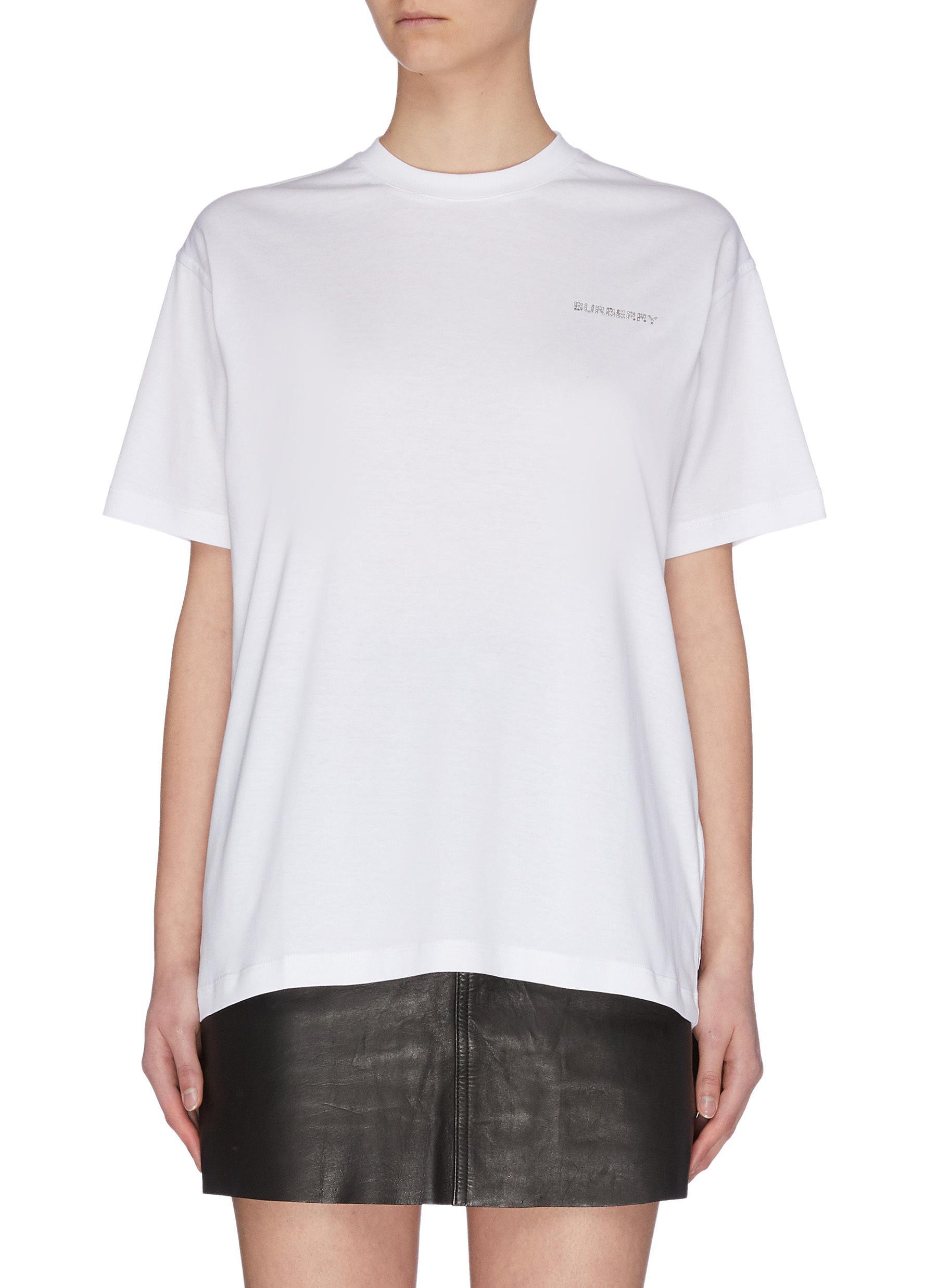 shop Burberry Crystal logo embellished T-shirt online