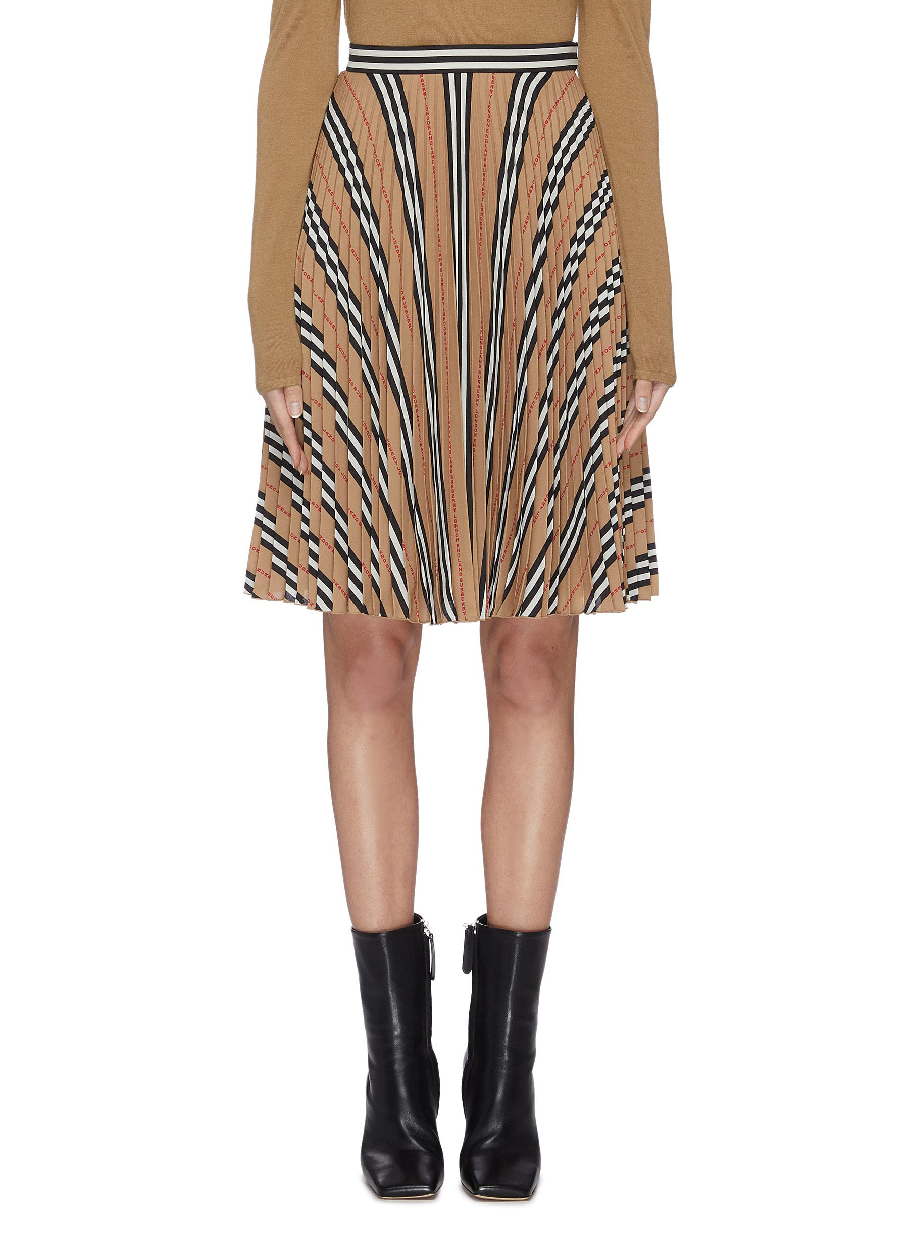 shop Burberry Archive stripe pleated midi skirt online