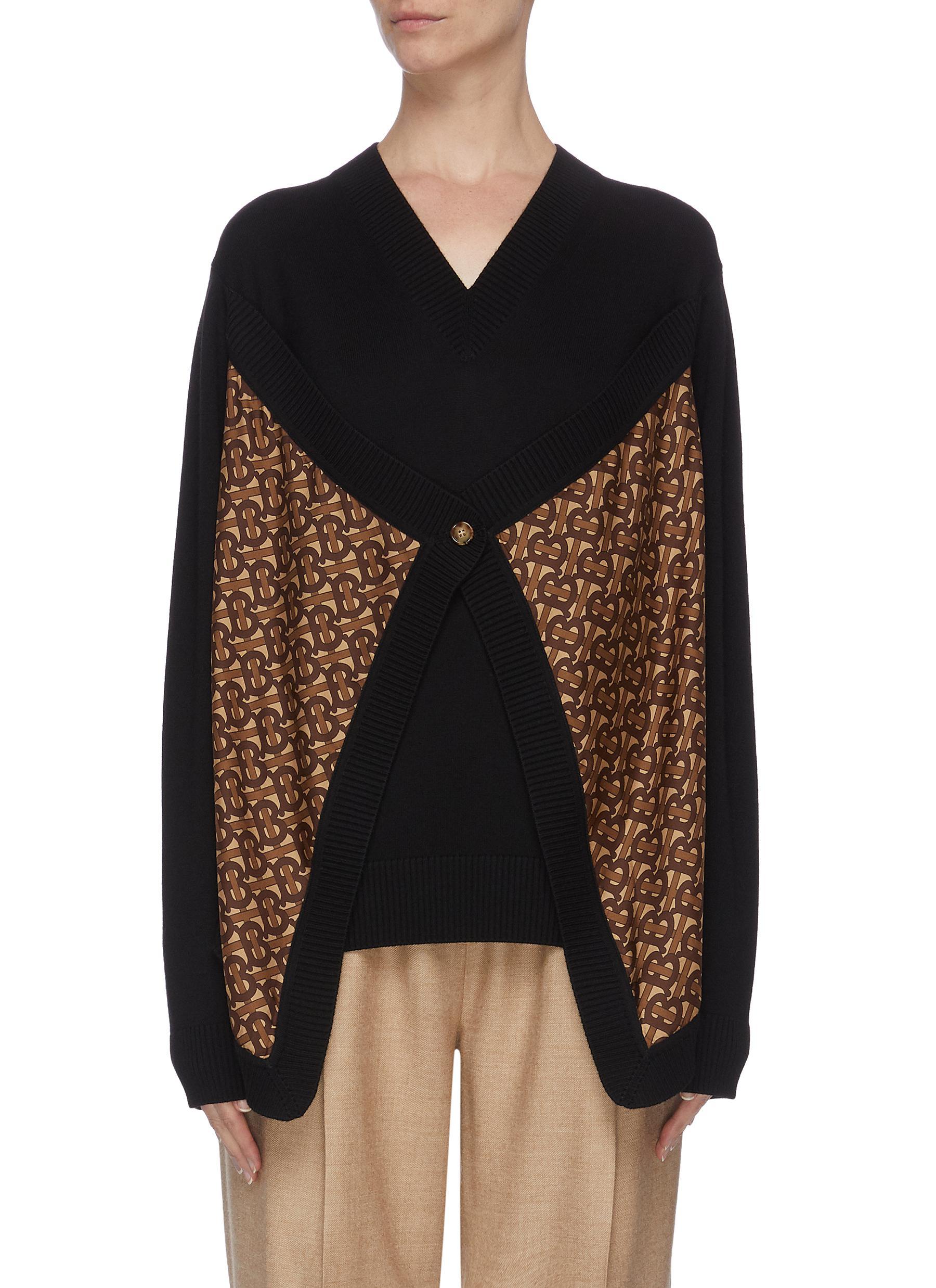 Buy Burberry Knitwear Monogram panel merino wool sweater