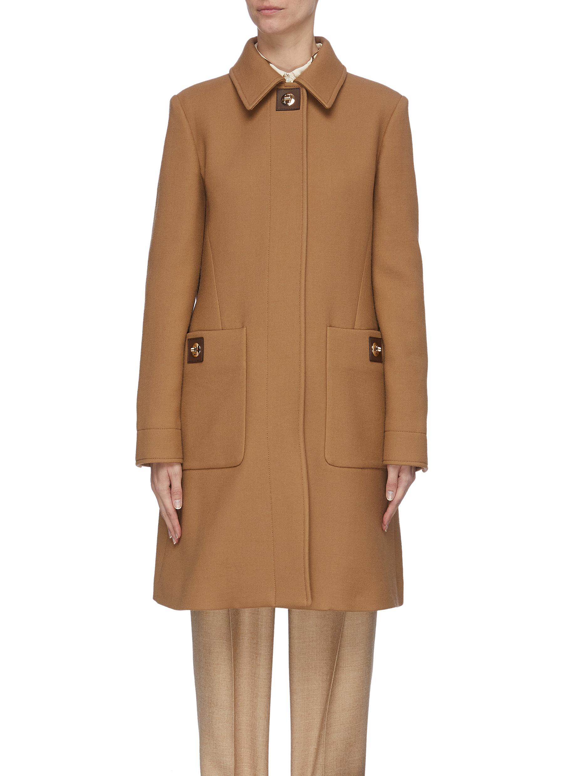 shop Burberry Leather patch wool coat online