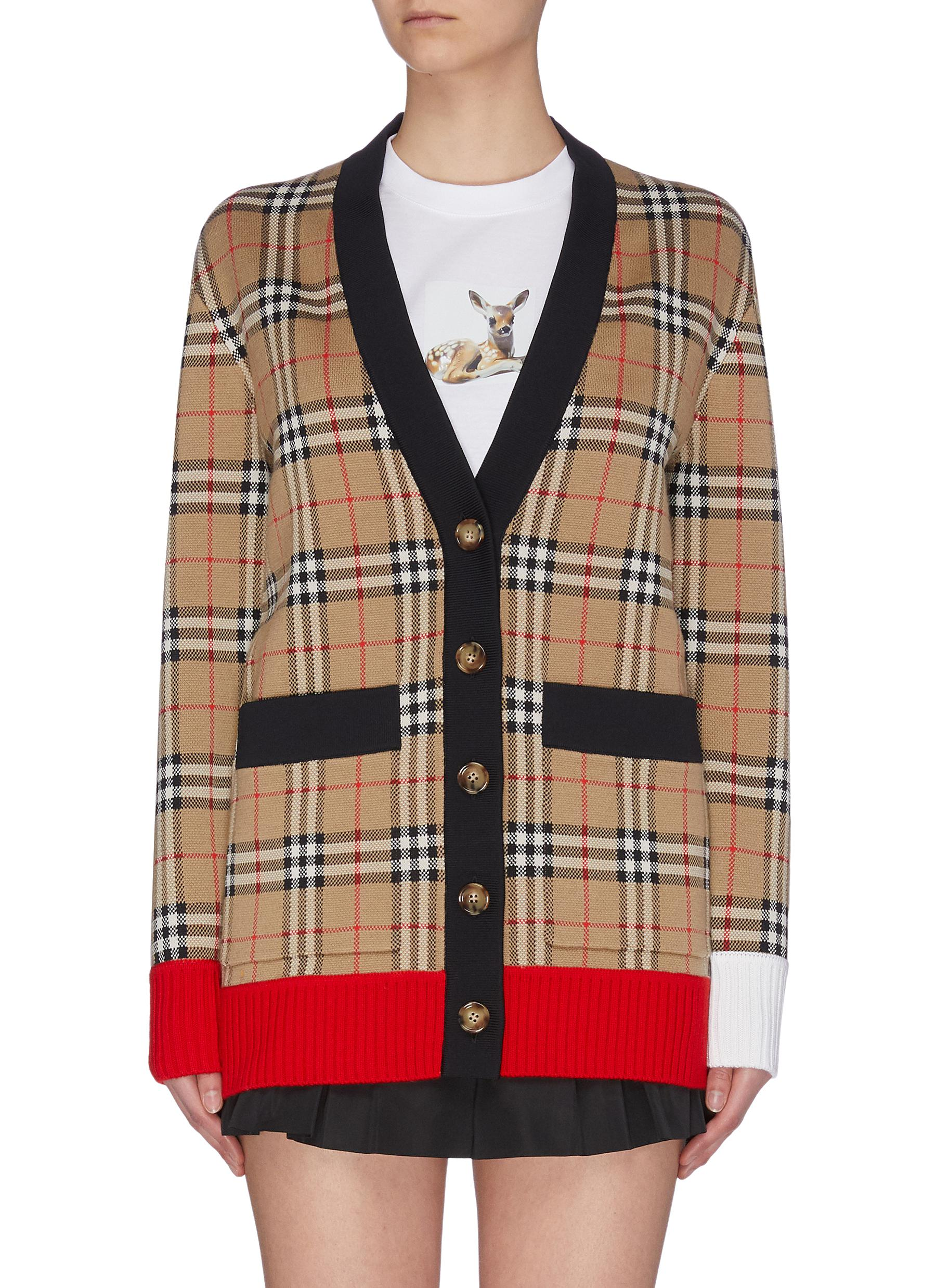 Buy Burberry Knitwear 'Archive' colourblock check cardigan