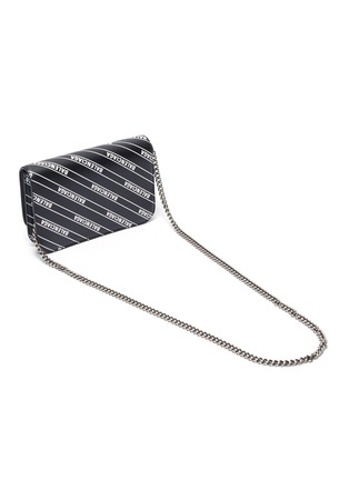 Detail View - Click To Enlarge - BALENCIAGA - Logo plate monogram chained leather wallet