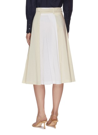 Back View - Click To Enlarge - BARENA - 'Arpa' Collaged Pinstripe A-line Midi Skirt